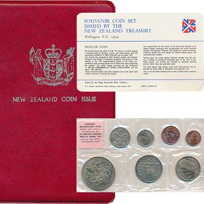 Изображение Подарочные монеты Австралия и Океания Новая Зеландия Набор 1974 года 1974  UNC-