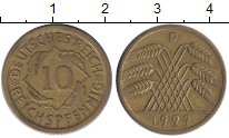 Изображение Монеты Германия Веймарская республика 10 пфеннигов 1929 Латунь XF