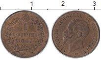 Изображение Монеты Италия 1 сентесимо 1867 Медь XF Виктор Эммануил II