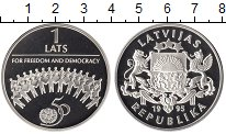 Изображение Монеты Европа Латвия 1 лат 1995 Серебро Proof