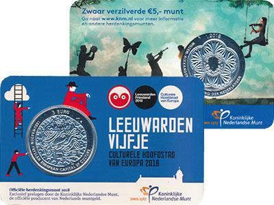 Изображение Мелочь Нидерланды 5 евро 2018 Посеребрение UNC Леуварден Культурная
