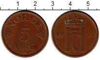 Изображение Монеты Норвегия 5 эре 1955 Бронза XF