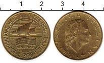 Изображение Монеты Италия 200 лир 1992 Латунь UNC- Выставка марок в Ген