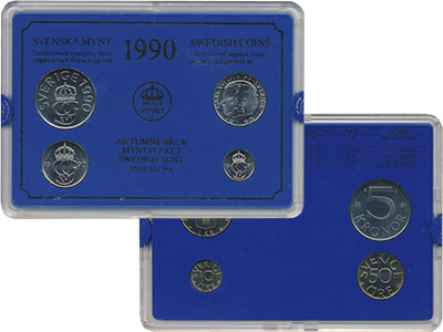 Изображение Подарочные монеты Европа Швеция Набор монет 1990 года 1990  UNC