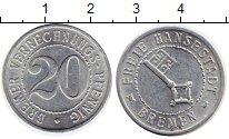 Изображение Монеты Бремен 20 пфеннигов 1924 Алюминий UNC-