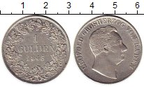 Изображение Монеты Германия Баден 1 гульден 1845 Серебро XF
