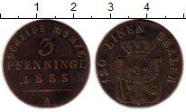 Изображение Монеты Пруссия 3 пфеннига 1833 Медь XF