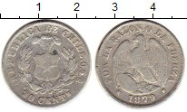 Изображение Монеты Южная Америка Чили 20 сентаво 1879 Серебро XF-