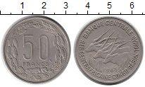 Изображение Монеты Центральная Африка 50 франков 1963 Медно-никель XF Антилопы