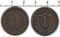 Изображение Монеты Швейцария Базель 1 батзен 1809 Серебро XF-