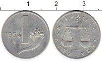 Изображение Монеты Италия 1 лира 1954 Алюминий XF