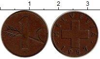 Изображение Монеты Европа Швейцария 1 рапп 1957 Медь XF