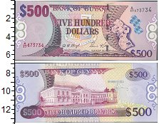 Изображение Банкноты Южная Америка Гайана 500 долларов 0  UNC
