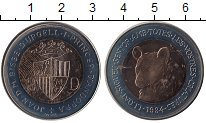 Изображение Монеты Андорра 2 динерса 1984 Биметалл UNC