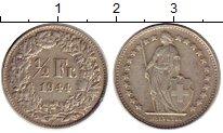 Изображение Монеты Европа Швейцария 1/2 франка 1944 Серебро XF