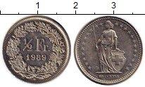Изображение Монеты Швейцария 1/2 франка 1989 Медно-никель UNC-
