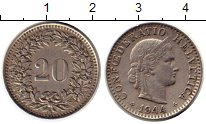 Изображение Монеты Европа Швейцария 20 рапп 1944 Медно-никель XF