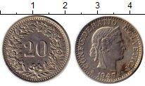 Изображение Монеты Европа Швейцария 20 рапп 1947 Медно-никель XF