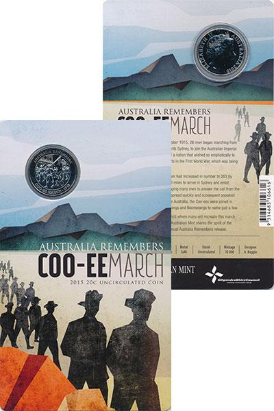 Изображение Подарочные монеты Австралия 20 центов 2015 Медно-никель UNC