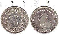 Изображение Монеты Европа Швейцария 1 франк 1899 Серебро VF