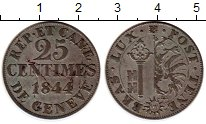 Изображение Монеты Женева 25 сантим 1844 Серебро XF