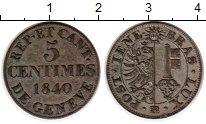 Изображение Монеты Швейцария Женева 5 сентим 1840 Серебро XF