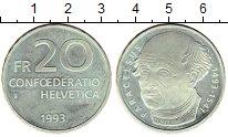 Изображение Монеты Европа Швейцария 20 франков 1993 Серебро Proof-