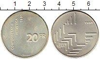 Изображение Монеты Швейцария 20 франков 1991 Серебро UNC- 700 - летие Конфедер