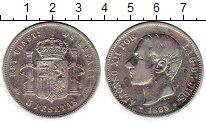 Изображение Монеты Европа Испания 5 песет 1885 Серебро XF-
