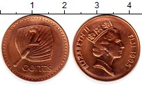 Изображение Монеты Фиджи 2 цента 1995 Бронза UNC-