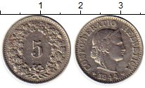 Изображение Монеты Швейцария 5 рапп 1944 Медно-никель XF В