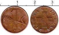 Изображение Монеты Швейцария 1 рапп 1953 Бронза XF