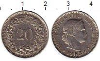 Изображение Монеты Европа Швейцария 20 рапп 1955 Медно-никель XF