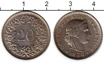 Изображение Монеты Швейцария 20 рапп 1970 Медно-никель XF