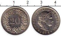 Изображение Монеты Швейцария 20 рапп 1974 Медно-никель XF
