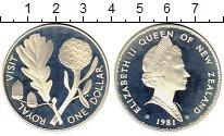 Изображение Монеты Новая Зеландия 1 доллар 1981 Серебро Proof-
