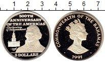 Изображение Монеты Северная Америка Багамские острова 5 долларов 1991 Серебро Proof-
