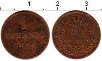Изображение Монеты Германия Бавария 1 пфенниг 1854 Медь XF-