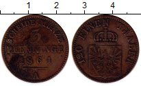 Изображение Монеты Пруссия 3 пфеннига 1864 Медь VF А