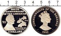 Изображение Монеты Багамские острова 5 долларов 1992 Серебро Proof 500 лет открытия Аме