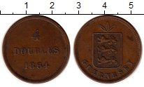Изображение Монеты Гернси 4 дубля 1864 Медь XF