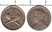 Изображение Монеты Австралия и Океания Новая Зеландия 3 пенса 1934 Серебро XF