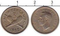 Изображение Монеты Австралия и Океания Новая Зеландия 3 пенса 1952 Медно-никель XF