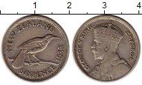 Изображение Монеты Новая Зеландия 6 пенсов 1933 Серебро XF