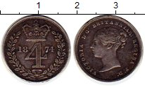 Изображение Монеты Европа Великобритания 4 пенса 1874 Серебро XF