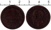 Изображение Монеты Европа Италия 5 сентесим 1861 Медь VF