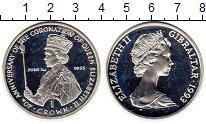 Изображение Монеты Гибралтар 1 крона 1993 Серебро Proof- 40 лет коронации Ели
