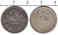 Изображение Монеты Европа Германия 1/2 марки 1914 Серебро XF