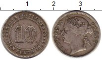 Изображение Монеты Стрейтс-Сеттльмент 10 центов 1898 Серебро XF