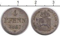 Изображение Монеты Германия Ганновер 4 пфеннига 1837 Серебро VF